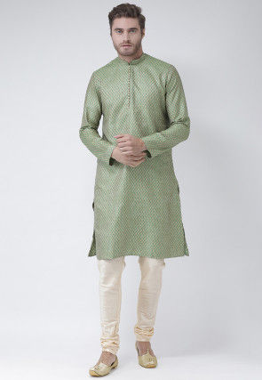 Woven Art Silk Jacquard Kurta in Green