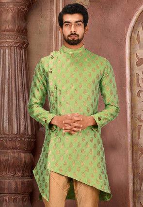 Woven Art Silk Jacquard Kurta in Light Green