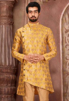 Woven Art Silk Jacquard Kurta in Mustard