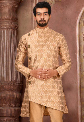 Woven Art Silk Jacquard Kurta in Peach and Beige