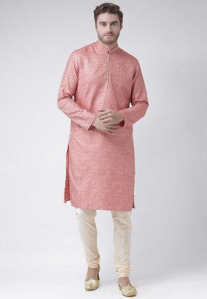 Woven Art Silk Jacquard Kurta in Pink