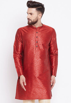 Woven Art Silk Jacquard Kurta in Red