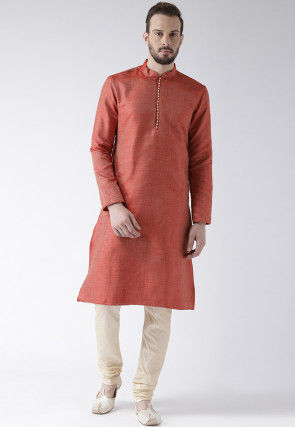 Woven Art Silk Jacquard Kurta in Rust