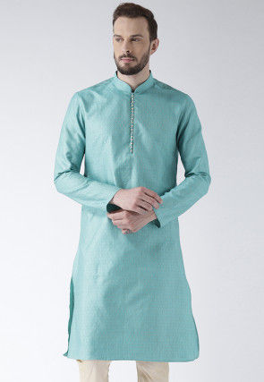 Woven Art Silk Jacquard Kurta in Sky Blue
