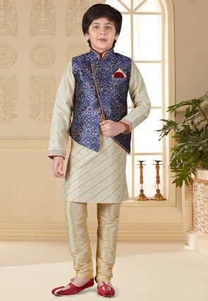 Woven Art Silk Jacquard Kurta Jacket Set in Beige and Dark Blue