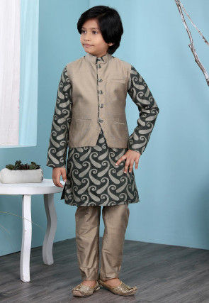 Woven Art Silk Jacquard Kurta Jacket Set in Dark Green