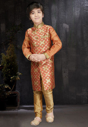 Woven Art Silk Jacquard Kurta Set in Beige and Red