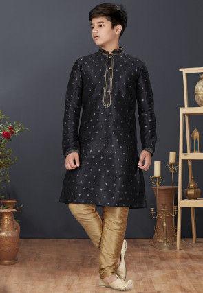 Woven Art Silk Jacquard Kurta Set in Black