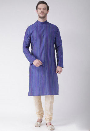 Woven Art Silk Jacquard Kurta Set in Dark Blue