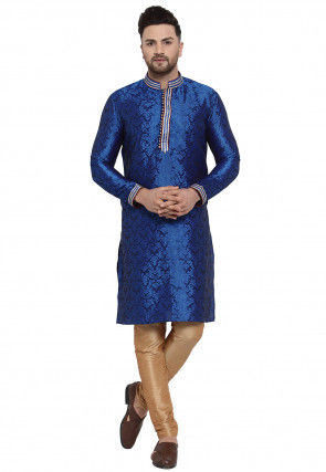 Woven Art Silk Jacquard Kurta Set in Dark Blue