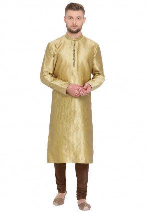 Woven Art Silk Jacquard Kurta Set in Golden