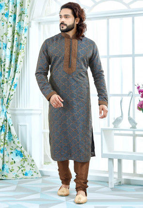 Woven Art Silk Jacquard Kurta Set in Grey