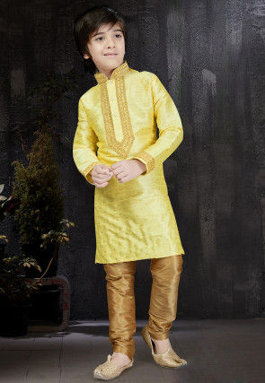 Woven Art Silk Jacquard Kurta Set in Light Yellow