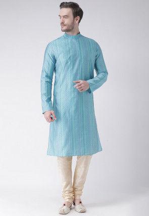 Woven Art Silk Jacquard Kurta Set in Light Blue