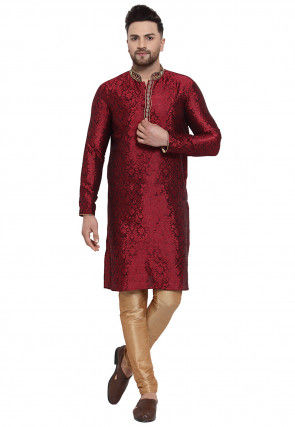 Woven Art Silk Jacquard Kurta Set in Maroon