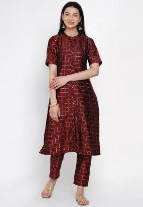 Woven Art Silk Jacquard Kurta Set in Maroon
