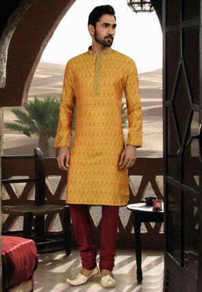 Woven Art Silk Jacquard Kurta Set in Mustard