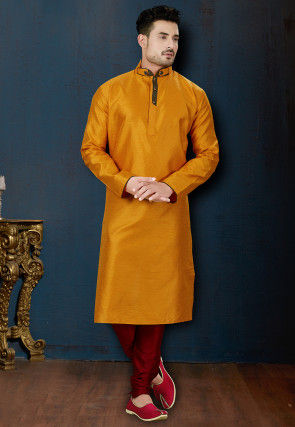 Woven Art Silk Jacquard Kurta Set in Mustard