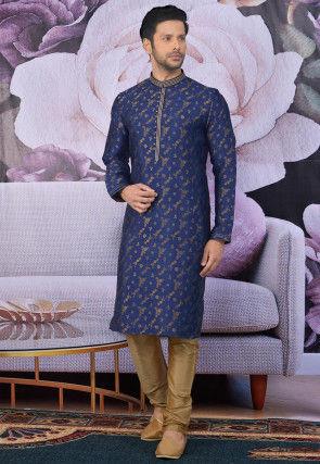 Woven Art Silk Jacquard Kurta Set in Navy Blue