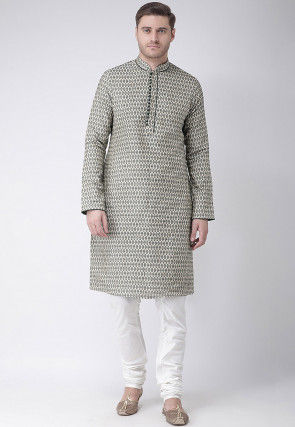 Woven Art Silk Jacquard Kurta Set in Off White and Teal Green