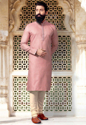 Woven Art Silk Jacquard Kurta Set in Pink