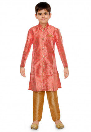 Woven Art Silk Jacquard Kurta Set in Pink