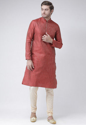 Woven Art Silk Jacquard Kurta Set in Red