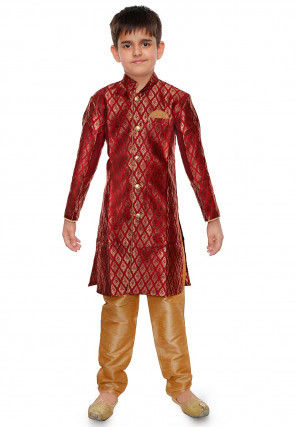 Woven Art Silk Jacquard Kurta Set in Red