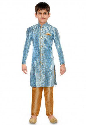 Woven Art Silk Jacquard Kurta Set in Sky Blue
