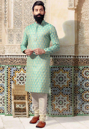 Woven Art Silk Jacquard Kurta Set in Turquoise