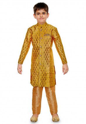 Woven Art Silk Jacquard Kurta Set in Yellow