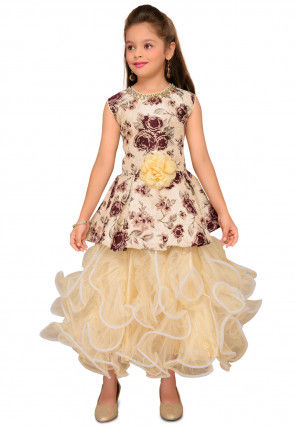 Woven Art Silk Jacquard Layered Gown in Beige and Maroon