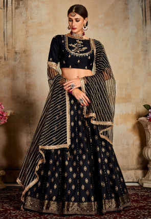 Woven Art Silk Jacquard Lehenga in Black