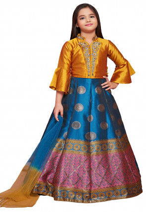 Woven Art Silk Jacquard Lehenga in Blue and Pink
