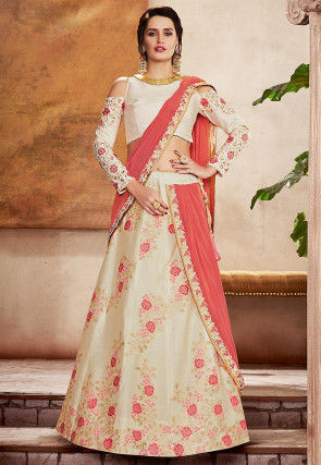 Woven Art Silk Jacquard Lehenga in Cream