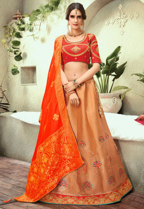 Woven Art Silk Jacquard Lehenga in Dusty Peach
