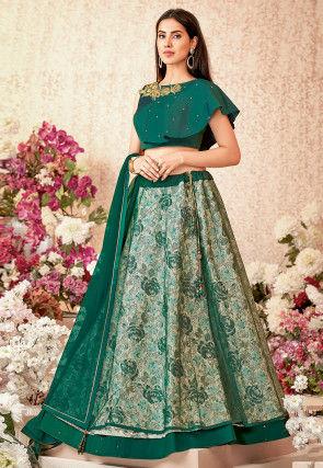 Woven Art Silk Jacquard Lehenga in Green