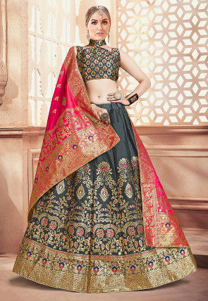 Woven Art Silk Jacquard Lehenga in Grey