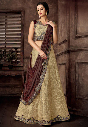 Woven Art Silk Jacquard Lehenga in Light Beige