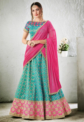 Woven Art Silk Jacquard Lehenga in Light Blue
