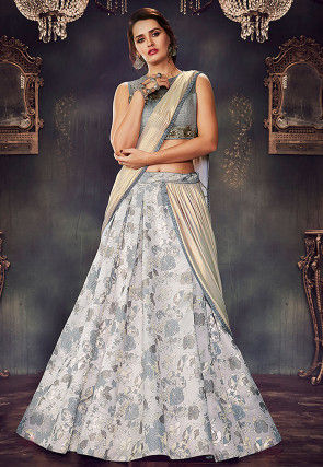Woven Art Silk Jacquard Lehenga in Light Grey and Off White