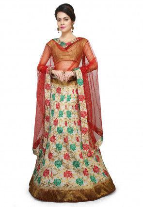 Woven Art Silk Jacquard Lehenga in Multicolor