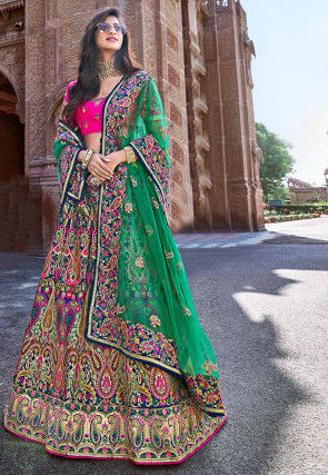 Woven Art Silk Jacquard Lehenga in Multicolor