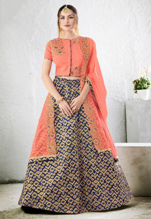Woven Art Silk Jacquard Lehenga in Navy Blue