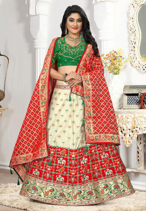 Woven Art Silk Jacquard Lehenga in Off White and Red