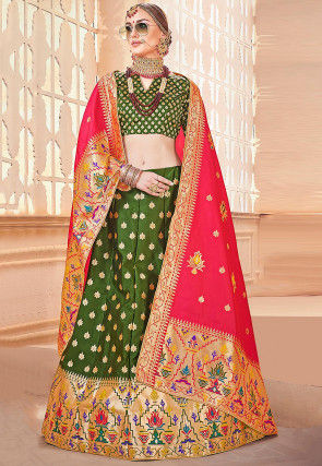 Woven Art Silk Jacquard Lehenga in Olive Green