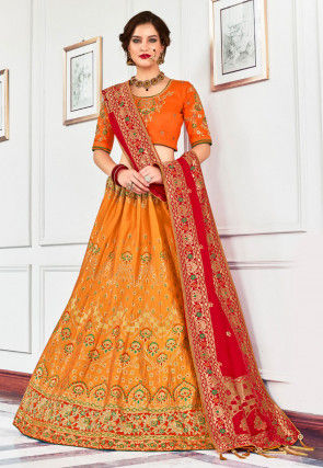 Woven Art Silk Jacquard Lehenga in Orange