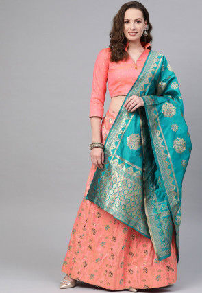 Woven Art Silk Jacquard Lehenga in Peach
