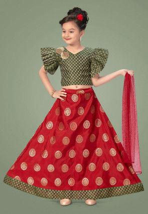Woven Art Silk Jacquard Lehenga in Red