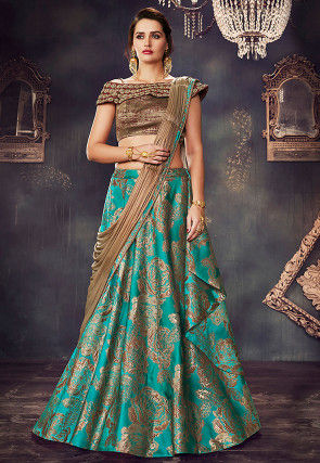 Woven Art Silk Jacquard Lehenga in Teal Green
